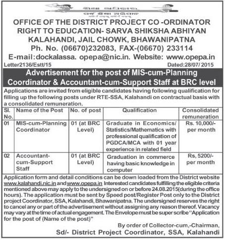 Odisha Jobs Various Posts Vacancy Under Ssa Bhawanipatna